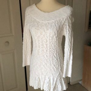 Intuitions Tunic Sweater In cream cotton knit